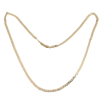 Fashion Jewelry Men Women Gold Plated Flat Curb Link Chain Necklace Gift