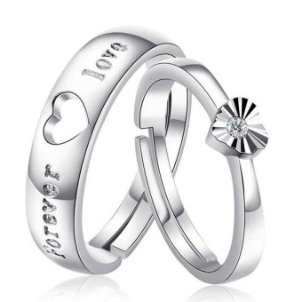 Fashion Lovers Rings Silver Adjustable Couple Ring Jewelry E002 - intl - 3