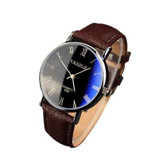 Fashion Luxury Faux Leather Mens Quartz Analog Watch (Brown)