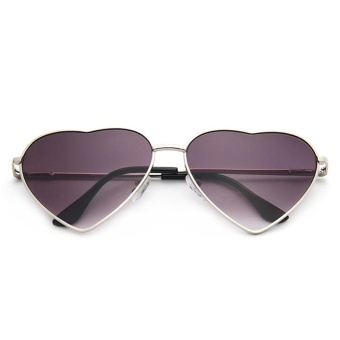 Fashion Men & Women Sunglasses Neutral Fancy Classic DesignMetal Love Shape Fame Sunglasses - Silver Frame Double Gray Sheet -intl Price Philippines