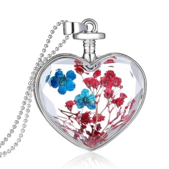 Fashion New Jewelry Romantic Transparent Crystal Glass Heart Shape Floating Locket Dried Flower Plant Specimen Golden/Silver Pendant Chain Necklace for Women Girls (Intl)