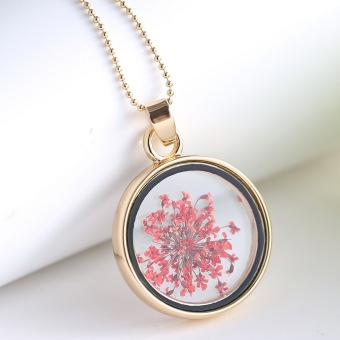 Fashion New Jewelry Romantic Transparent Crystal Glass Round Floating Locket Dried Flower Plant Specimen Golden Pendant Chain Necklace for Women Girls (Intl)
