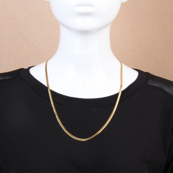 Fashion Simple Design Gold Plated Flat Curb Chain Necklace for Men Women - 2