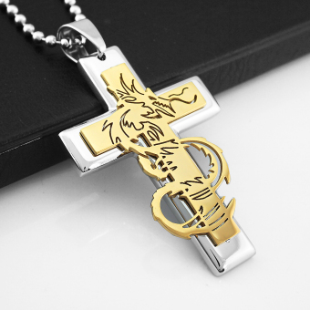 Fashion Stainless Cross Shape Dragon Carved Pendant Necklace Chain Golden - picture 2