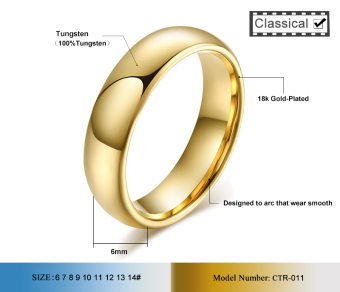 Fashion Tungsten Couple Rings 6MM/4MM Wide 18k Gold Plated Wedding Ring for Women and Men Jewelry - intl - 5