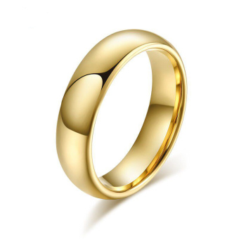 Fashion Tungsten Couple Rings 6MM/4MM Wide 18k Gold Plated Wedding Ring for Women and Men Jewelry - intl - 3