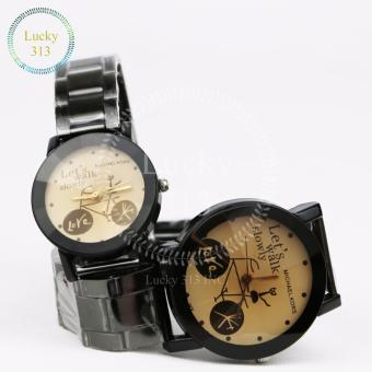 Fashion Watch Stainless Steel Bracelet for Couple (Gold BG) - 4