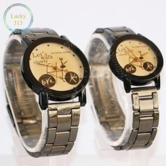 Fashion Watch Stainless Steel Bracelet for Couple (Gold BG) - 2