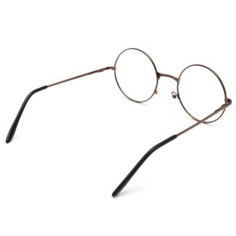 Fashion Women Men Vintage Round Mirror Lens Eyeglasses Glasses Eyewear Unisex coffee - 5