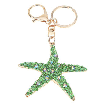 Fashional Jewelry Hollow Shinning Rhinestone Aureate Star Pendant Key Ring Key Chain - picture 2