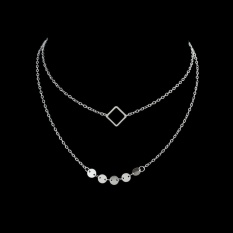 Feelontop New Fashion Jewelry Square Shape Gold-Color Silver Color Necklace Two Layers Necklace For