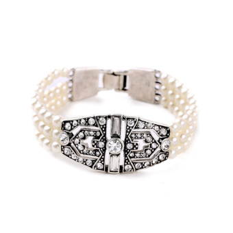 Fine European and American Silver porous diamond set Pearl bracelet