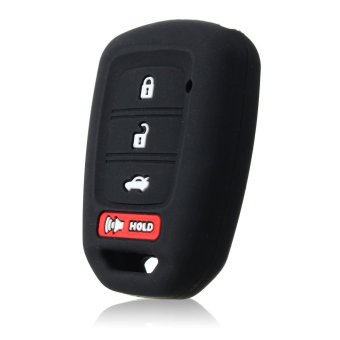 FIT FOR 2016 HONDA SILICONE 4 BUTTON CAR FOB SMART KEY COVER KEYLESS HOLDER CASE (Black) - intl