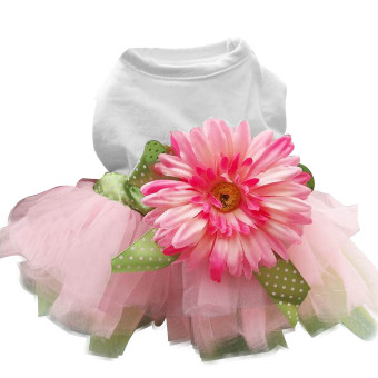Flower Gauze Tutu Skirt Pet Wedding Dress for Puppy Dog Cat CostumeClothing Party Princess Apparel Size L