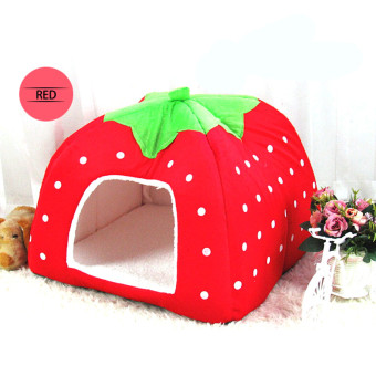 Foldable strawberry dog bed Pet Sleep Bed RED-M - Intl Price Philippines