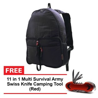 Folding Multi-pocket Backpack (Black) with FREE 11-1 Swiss Knife