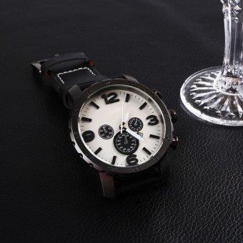 Fossil Luxury Men's Automatic PU Leather Analog Quartz Wrist Watch Gift silvery - intl - 5
