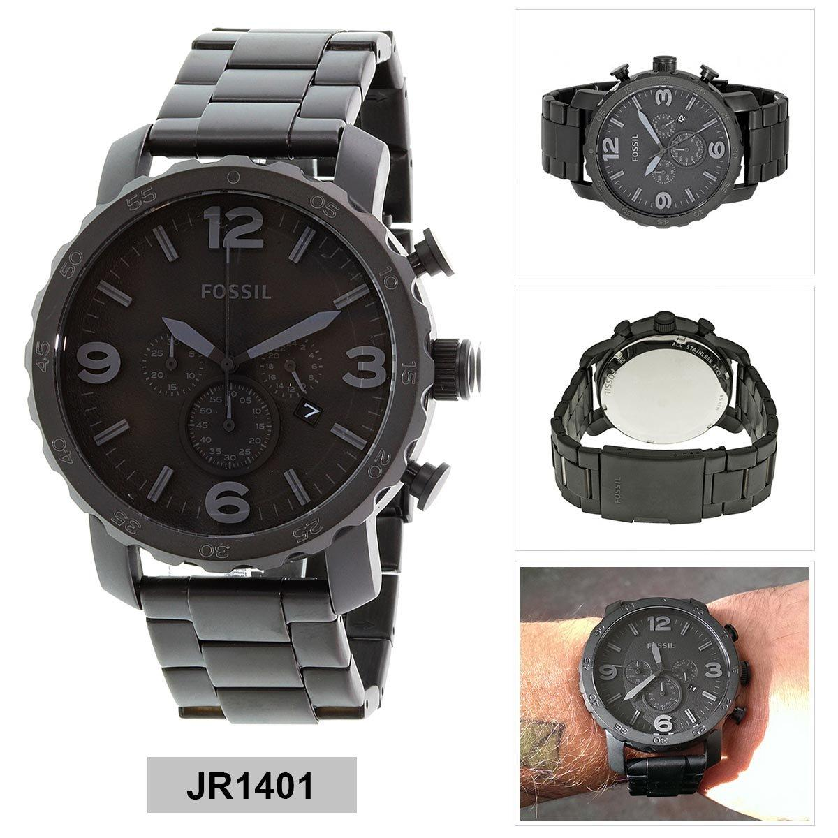 ... Nwt Warranty Me3041 Strap Source Leather Source Fossil Watch Nate Chronograph Black Stainless Steel Case Stainless
