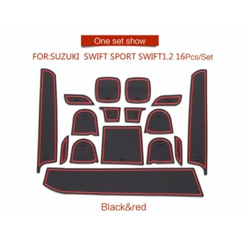 Gate slot pad For SUZUKI swift SPORT swift 1.2 Accessories,3DRubber Car Mat 16pcs RED - intl - 4
