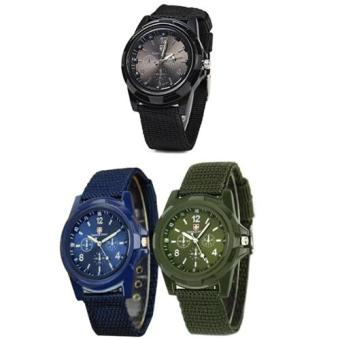 GEMIUS ARMY Military Sport Style Army Men's Green/Blue/Black Canvas Strap Watch Set of 3