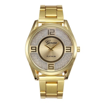 Geneva 8422 Diamond Men's Alloy Table False Three Red Pointer Quartz Watch-Gold Steel Mesh Belt - intl - 3