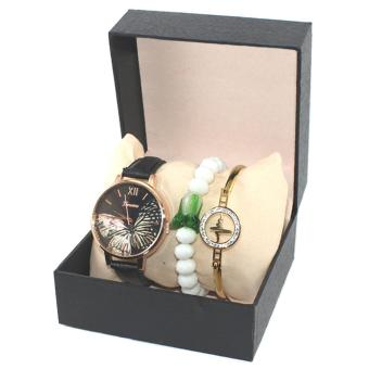 Geneva Butterfly Leather Watch with White Charm Bracelet and Heartbeat Bangle-Black - 5