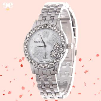 Geneva Diamond Butterfly Women's Silver Stainless Steel Strap Watch SY-19
