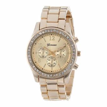 Geneva Lady's Gold Bracelet Strap Watch with free Stereo In-EarHeadphone (Color May Vary) - 2