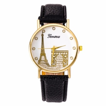 Geneva Paris Eiffel Tower Dial Leather Watch