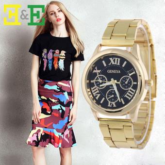 Geneva Roman Numerals Women's Gold Steel-belt Watch SY-3