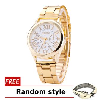 Geneva Roman Numerals Women's Gold Steel-belt Watch SY-3 with Free Bangle Harper Random style