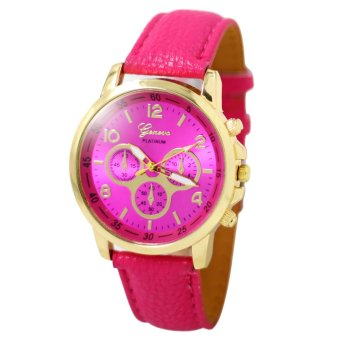 Geneva Sophie Hot Pink Leather Strap Watch