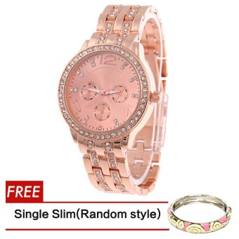 Geneva SY-13 Fashion Women's Rose Gold Stainless Steel Strap WatchWith Free Slim Bangle Hannah