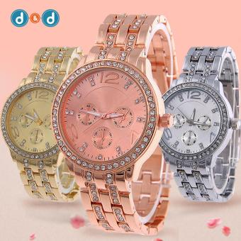 Geneva SY-13 Women's Stainless Steel Strap Watch Set of 3 (Silver/Gold/Rosegold)