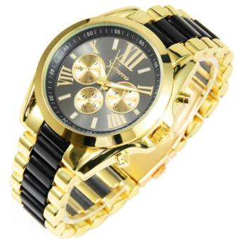 Geneva Three Eyes Strip Women's Two-Tone Stainless Steel StrapWatch 179 (Gold/Black) Set Of 3 - 3