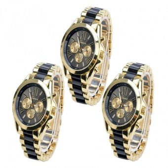 Geneva Three Eyes Strip Women's Two-Tone Stainless Steel StrapWatch 179 (Gold/Black) Set Of 3