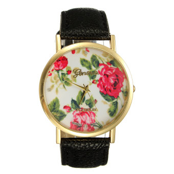 Geneva Women Black Leather Rose Flower Watch