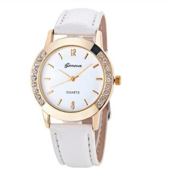 Geneva Women's Crystal Studded Classic Colored Leather Strap Watch
