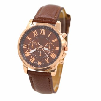 Geneva Women's Fashion Roman Numerals Faux Leather Watch (Brown)