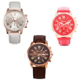 Geneva Women's Roman Leather Strap Watch Brown/White/Red