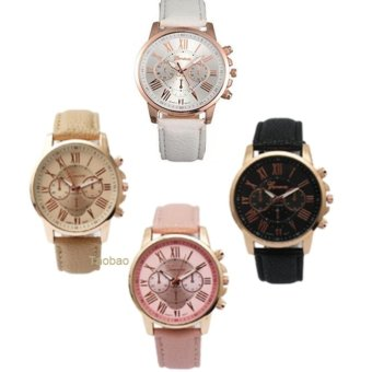 Geneva Women's Roman Leather Strap Watch (Pink/Beige/Black/White) Set of 4