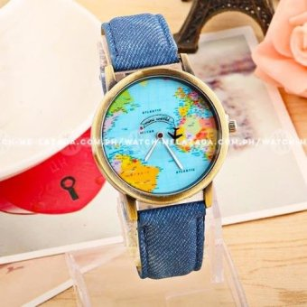 Geneva Women's World Traveller Design Colored Denim Strap Watch