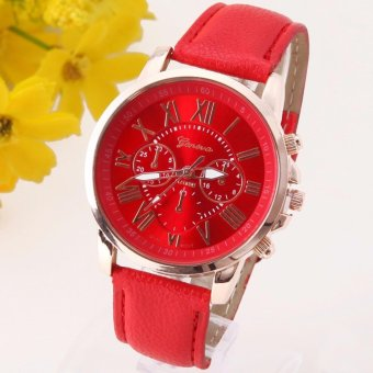 Geneva Women's Fashion Roman Numerals Faux Leather Watch (Red)