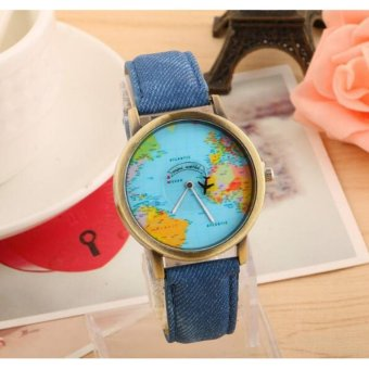 Geneva World Traveler Airplane Fashion Wrist Watch (Blue)