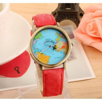 Geneva World Traveler Airplane Fashion Wrist Watch (Red)