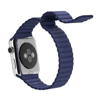 Genuine Leather Loop Watch Band Strap Magnetic Buckle For AppleWatch 42mm Bl - 3
