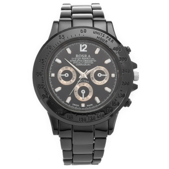 GETEK Men's Stainless Steel Analog Quartz Wrist Watch (Black)