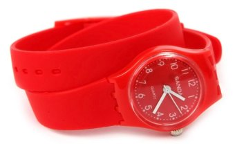 Girls Women Jelly Rubber Candy Wrist Watch Red
