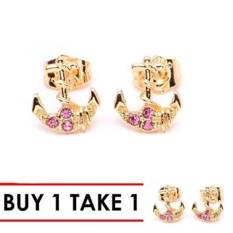 Glamorosa Anchor in Pink Stone Stud Earrings (Gold) Buy 1 Take 1