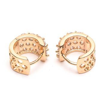Glamorosa Chunky Polka Diamonds Hoop Earrings in Gold - 3